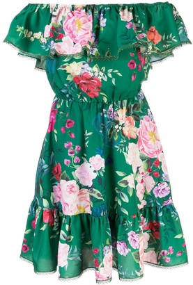 Marchesa Floral Print Shirred Dress