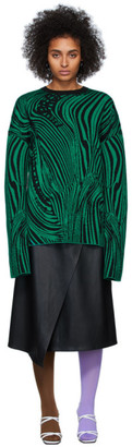 Rokh Black and Green Wool Psychedelic Sweater