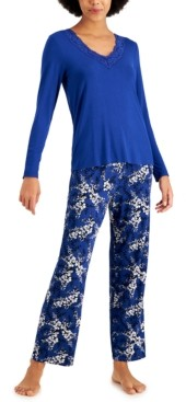 Charter Club Lace-Trim Top & Printed Pants Pajama Set, Created for Macy's