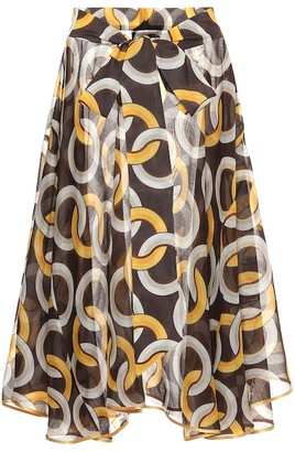 F.R.S For Restless Sleepers Printed cotton and silk midi skirt