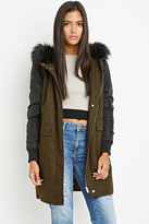 Forever 21 Contemporary Faux Fur Hood Utility Jacket