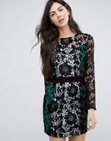 Endless Rose Color Block Long Sleeve Lace Dress