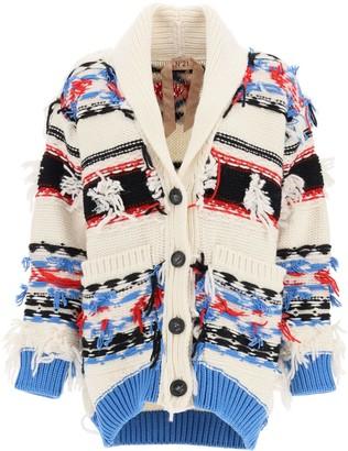 N°21 N.21 JEWEL JACQUARD CARDIGAN S White, Blue, Red Wool