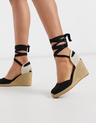 Aldo Muschetta espadrille wedge sandal in black suede