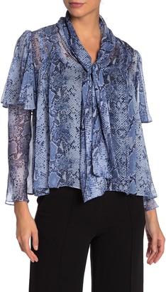 Diane von Furstenberg Nami Patterned Silk Tie Neck Blouse