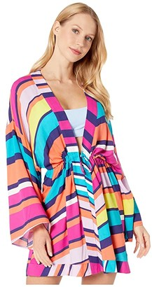 Trina Turk Catch A Wave Kimono Cover-Up (Multi) Women's Swimwear