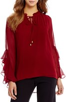 Gibson & Latimer Long Sleeve Tie Front Top