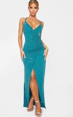 PrettyLittleThing Emerald Green Plunge Ruched Split Leg Maxi Dress