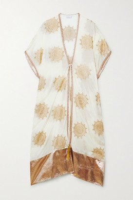 Miguelina Houda Metallic Embroidered Voile And Matelasse Lurex Robe - Ivory