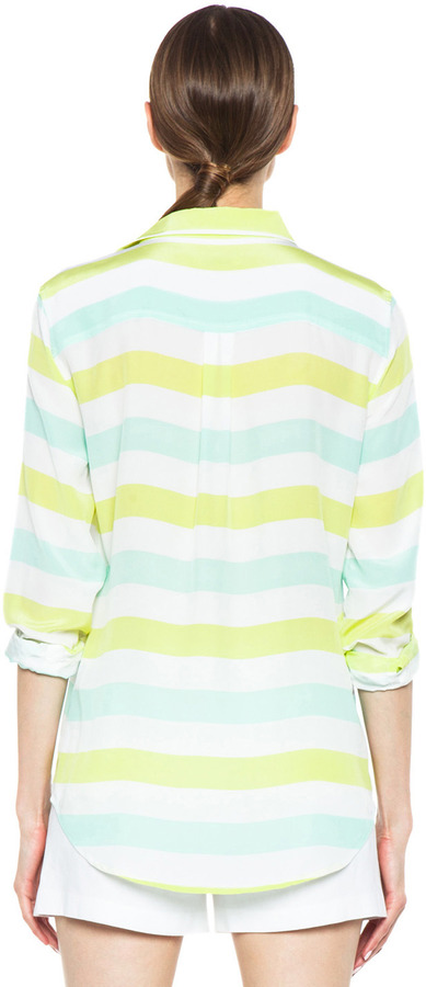 Equipment Cabana Stripe Printed Slim Signature in Lime & Ice Green