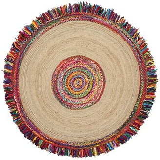 Bungalow Rose Sandford Round Racetrack Cotton Yellow/Red/Green Area Rug