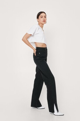 Nasty Gal Womens Slit's Now or Never Jeans - Black - 14