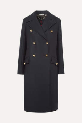 Miu Miu Double-breasted Wool-twill Coat - Navy