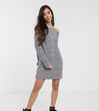 ASOS DESIGN Petite off shoulder knitted mini dress with stitch detail