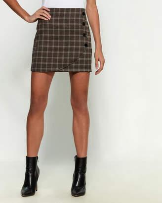 Emory Park Dark Brown Mini Plaid Skirt