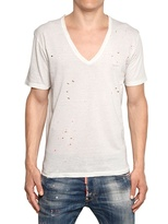 DSquared Distressed Cotton Linen Jersey T-Shirt