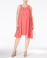 Love Squared Trendy Plus Size Sleeveless Lace-Up Dress