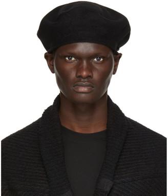 Julius Black Wool Melton Beret