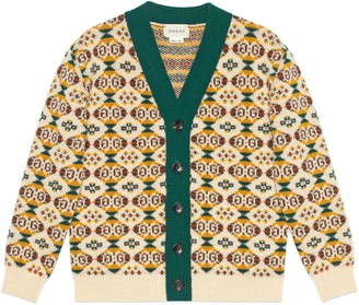 Gucci Children's diamond GG wool cardigan