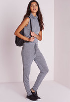 Missguided Ribbed Turtle Neck Romper Grey