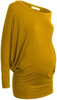 Hot From Hollywood Women's Scoop Neck Long Dolman Sleeve Stretch Knit Casual Maternity Tunic Top
