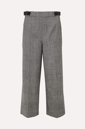 Altuzarra Charlie Cropped Leather-trimmed Prince Of Wales-checked Wool-blend Wide-leg Pants - Black