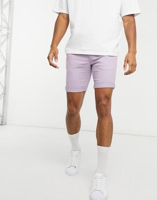 Topman skinny chino shorts in lilac