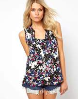 Asos Sleeveless Blouse With Drop Collar In Floral Smudge Print