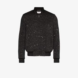 Saint Laurent Teddy tweed bomber jacket