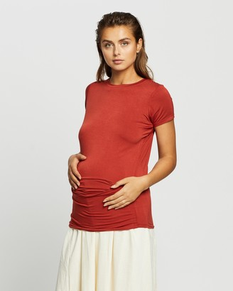 Cotton On Maternity - Women's Brown Maternity T-Shirts - Maternity Wrap Front Short Sleeve Top - Size S at The Iconic