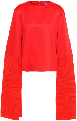 SOLACE London Evelyn Satin And Plisse-crepe Top