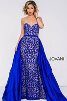 Jovani Strapless Lace Dress With Overlay Skirt 35052