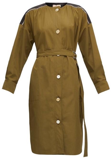 Marni Panelled Cotton-poplin Shirt Dress - Green Multi