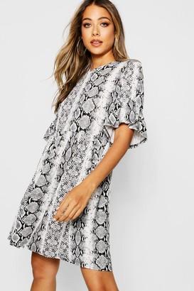 boohoo Snake Print Ruffle Sleeve Smock Dress