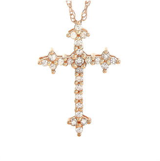 Non Branded 14K Rose Gold 0.12 Ct. Tw. Diamond Cross Necklace