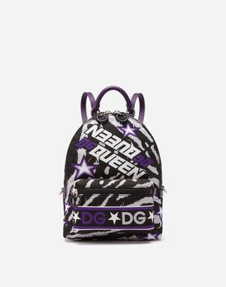 Dolce & Gabbana Nylon Vulcano Backpack With Jungle Print Over A Purple Base