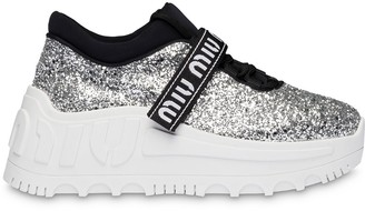 Miu Miu Glitter Chunky Sole Sneakers
