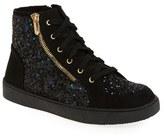 Sam Edelman Girl's 'Britt Roxy' Glittery High Top Sneaker