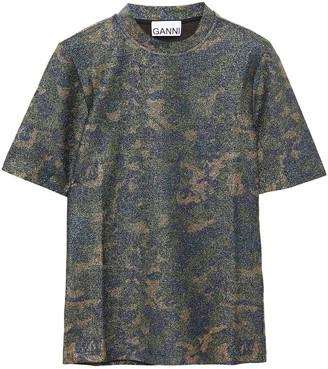 Ganni Metallic Printed Stretch-jersey T-shirt