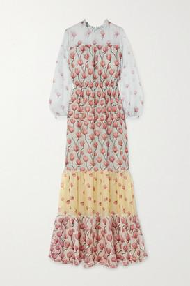 Raquel Diniz Gloria Tiered Floral-print Silk-chiffon Maxi Dress - Light blue