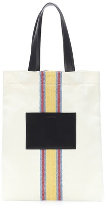 Jil Sander Leather-trimmed canvas tote bag