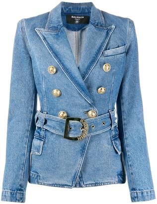 Balmain Decorative-Button Belted Jacket