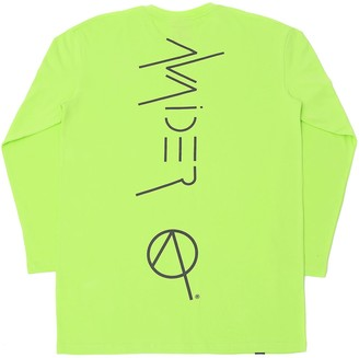 Avaider Streetwear Back Logo Crew Neck Long Sleeve T-Shirt In Neon Green