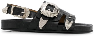 Toga Pulla Crocodile-Effect Flat Sandals