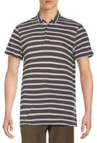 James Perse Striped Cotton & Cashmere Polo Shirt