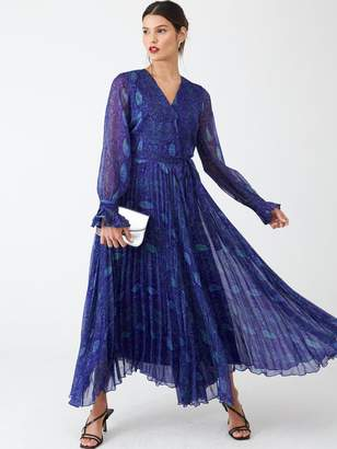 Very Pleated Skirt Midi Dress - Blue Snake Print