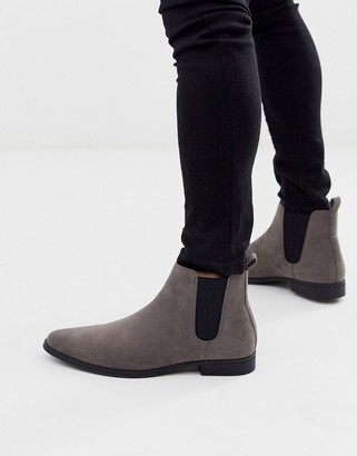 Asos Design DESIGN chelsea boots in gray faux suede