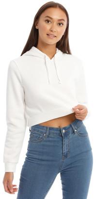 Miss Shop Fleece Back Hooded Cropped Sweat Top