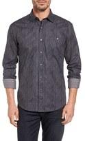 Bugatchi Men's Bugtachi Shaped Fit Heathered Print Sport Shirt
