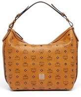 MCM 'Small Gold Visetos' Coated Canvas Hobo - Brown